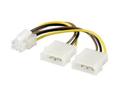 Internes Stromkabel 2 x 5,25 Stecker > PCI Express 6 pin